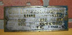 Otis Elevator Company Old Brass Nameplate Plaque Sign Machinery Equipment Ad