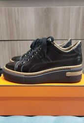 Hermes Shoes | Boomerang Leather Sneaker | Black And Beige | 37.5