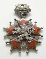 I599 Czechoslovakia Order Of The White Lion Commander 3rd Cl Neck Badge Silver