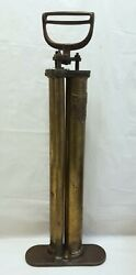 Rare Victor Half-a-minute Judd And Leland Mfg Brass And Steel Antique Tire Air Pump