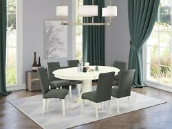 7pc Dining Set 42x60 Table In Linen White + 6 Parsons Chairs Gray Fabric Padding