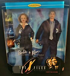 Mattel Barbie And Ken Collector Doll Set-nrfb-x Files Agents Scully And Mulder-1998