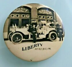 1910 Liberty Of Reading Pennsylvania Graphic Fire Fighters Advertising Mirror