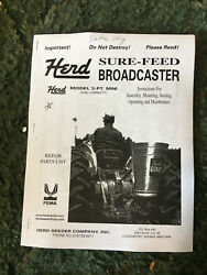 M96 - A New Reprint Operators Manual For A Herd M-96 Broadcaster Seeder