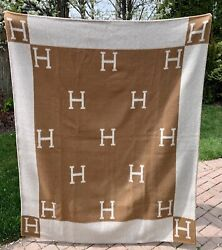 Hermandegraves Camel Brown Wool Cashmere H Signature Avalon Blanket Throw Scotland