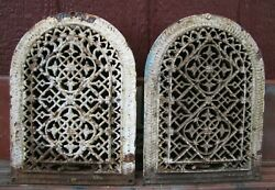 Antique Victorian Tombstone Pair Vents Grates Cast Iron Architectural Hardware