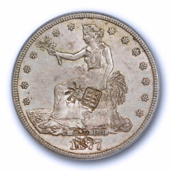1877 Cc T1 Trade Dollar Pcgs Au 55 Chop Marked About Uncirculated Original