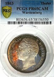 German States Wurttemberg 1863 Taler Coin Pcgs Pr 65 Cam Pp/proof Thaler Unc Top