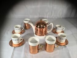 19 Pc Baker Hart And Stuart Copper Tea Or Coffee Pot With Lid 8 Cups 4 Saucers