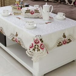 Home Hotel Dining Wedding White Red Table Cloth With Lace Embroidered Floral