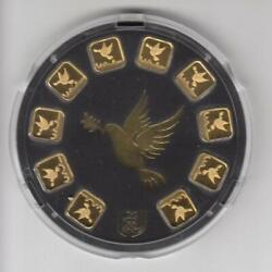 Holy Land Mint - Set Of 10 Dove Of Peace, 1g Gold Bars, Genesis Gold 9999 Sealed