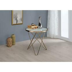 Acme Furniture Acme 81827 Valora End Table Frosted Glass 26amp Champagne One