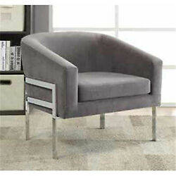 Coaster Accent Chair With Exposed Frame Grey And Chrome