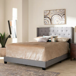 Baxton Studio Brady Modern And Contemporary Light Grey Fabric Upholstered Queen