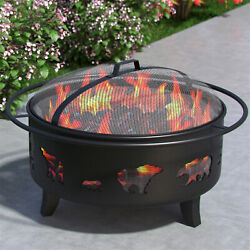 Regal Flame Wild Bear 35 Portable Outdoor Fireplace Fire Pit Ring For Backyard P