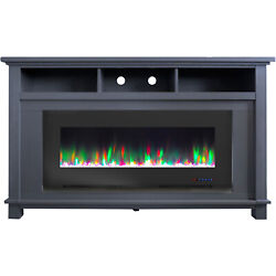 Cambridge San Jose Electric Fireplace Tv Stand In Slate Blue With Color-changing