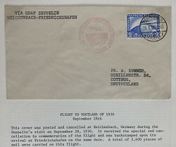 1930 Reichebanch Germany Graf Zeppelin Lz 127 Flight Airmail Cover To Cottbus