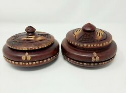 Set Of 2 Vintage Hand Carved Wooden Mud Bowls With Lids 5 Diameter X 2 High