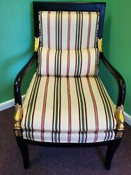 Handsome Ethan Allen Dolphin Federal Black With Gold Trim Arm Chair 7109
