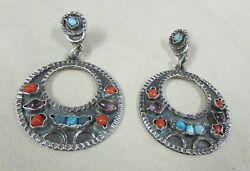 Sterling Silver Dangle Earrings From Mexico With Coral, Turquoise And Amethyst