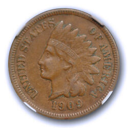 1909 S 1c Indian Head Cent Ngc Xf 45 Extra Fine To About Uncirculated Key Dat...