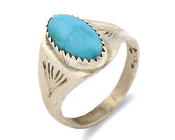 Zuni Ring .925 Silver Kingman Turquoise Hand Stamped Native American C.80and039s