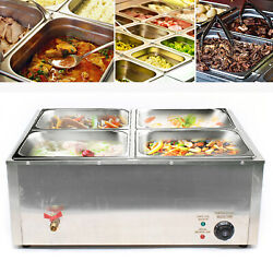 Food Warmer Bain Marie Food Steamer 4 Pans Steam Table Buffet Countertop 850w Us