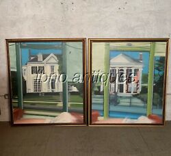 Lg Pr Original New Orleans Artist. Oil On Canvas. St Charles Ave. From Streetcar
