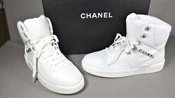 37.5 White Crocodile Embossed Lace Up High Top Sneakers Trainers Shoe New