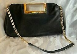 Michael Kors Black Leather Clutch Purse with Gold Chain $29.00