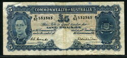 Australia 1952 5 Pounds 532383 P27d H. C. Coombs And R. Wilson Vf