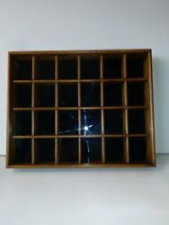 Vintage Wood Shadow Box Hanging Curio 14 Display Cabinet Case Sliding Glass