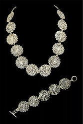 Taxco Mexico Tz-12 Sterling Silver Flower Panel Link Choker Necklace And Bracelet