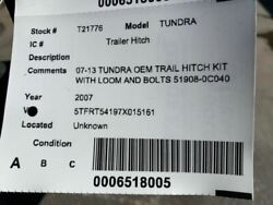07-13 Tundra Oem Trail Hitch Kit With Loom And Bolts 51908-0c040