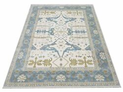 12x15 Oushak Area Rug Ivory Hand-knotted Wool Carpet 12'2 X 14'11
