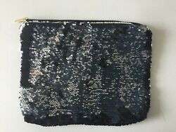 SEQUIN FLAT Zip COSMETIC BAG BLACK SILVER CLUTCH BAG POUCH NEW $12.99