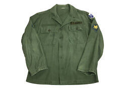 60s / 70s Vietnam Og 107 Sateen Green Button Front Shirt Size 44 Large Patches