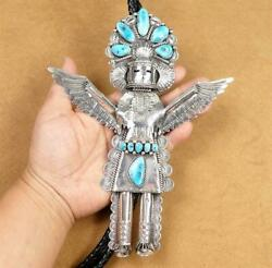 Navajo Sterling Silver Turquoise Eagle Dancer 7.5 Huge Kachina Leather Bolo Tie
