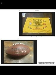 Myron Cope 2005 Steelers Terrible Towel And Willie Parker-autographed Football