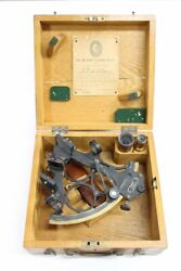 1943 Wwii Heath And Co Sextant Wooden Box Maritime Nautical Wwii W/ Provenance Vtg