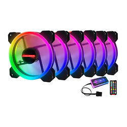 High Airflow 12cm Led Adjust Rgb Pc Case Cooling Fan With Controller Remote