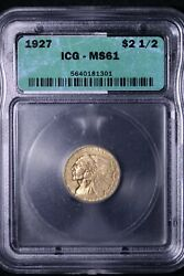1927 2.50 2 1/2 Gold Indian Quarter Eagle Icg Ms61 Free Shipping Anlm 10