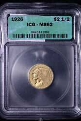 1926 2.50 2 1/2 Gold Indian Quarter Eagle Icg Ms62 Free Shipping Wenm 10