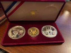 1983 / 1984 Us Mint 3 Coin Olympic Silver 10 Gold Commemorative Proof Set W/box