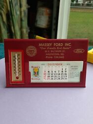 Massey Ford Hagerstown Md Full 1973 Calendar Thermometer Phone Index Desk Top
