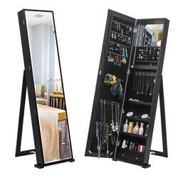 Jewelry Cabinet With Standing Mirror Armoire Organizer Storage W/blue Led Lights