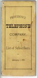 Providence Telephone Company / List Of Subscribers January 1 1881 Wrapper Title