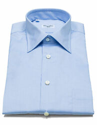 Cesare Attolini Shirt In Blue With Breast Pocket And Kent Collar Reg