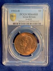 G.b./england George V 1912-h Penny, Choice Uncirculated Certified Pcgs Ms-64-rb