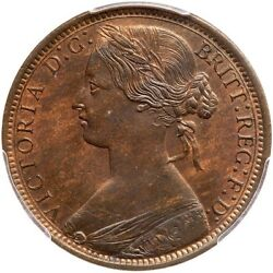 Great Britain Victoria 1872 Penny, Choice Uncirculated, Certified Pcgs Ms63-rb